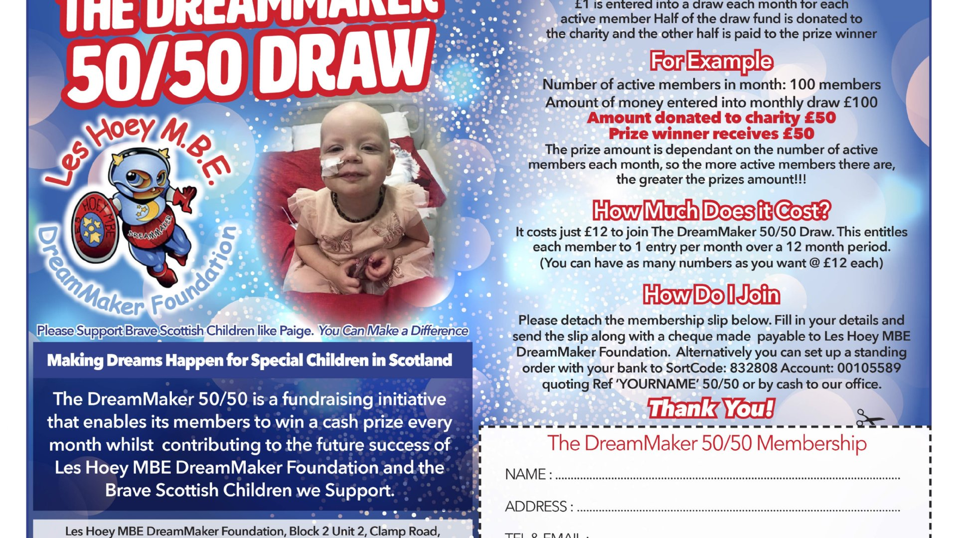 JOIN OUR 50/50 MONTHLY DRAW FOR ONLY £1...